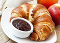 French breakfast with croissants fresh and berries jam Stock Images