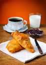 French breakfast still life with croissant marmalade milk and coffee Royalty Free Stock Photo
