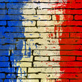 French brick wall background grunged flag over a illustration Stock Photography