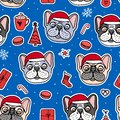 French bulldog puppies hand drawn characters. Seamless pattern Dogs in Christmas red hats. Vector Illustration holiday