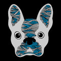 French bulldog sugar skull, frenchie cute dog day of the dead, vector hand drawn