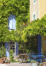 French cafe on village corner provence in sidewalk france Royalty Free Stock Image