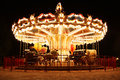 French carousel with horses at night old lighting Royalty Free Stock Photo