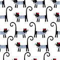 French cat seamless pattern. Cute cartoon parisian cat vector illustration. Royalty Free Stock Photo
