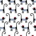 French cat seamless pattern. Cute cartoon parisian cat vector illustration.