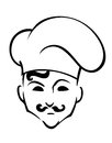 French chef in toque hat cartoon style for restaurant or cafe design Stock Image