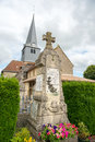 French church with war monument in village larzicourt in france Stock Photo