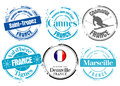 French cities stamps Royalty Free Stock Photos