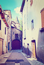 French city medieval florac instagram effect Stock Image