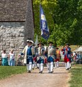 The French colonial color gaurd at fort de Chartres, IL Royalty Free Stock Photo