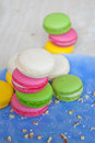 French cookies filled with butter cream macarons Stock Photography