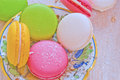 French cookies filled with butter cream macarons Royalty Free Stock Photo