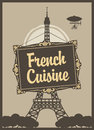 French cuisine banner for a restaurant with with eiffel tower Stock Image