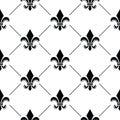 French Damask background - Fleur de lis black pattern Royalty Free Stock Photo