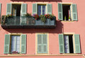 French facade with balcony Stock Photos