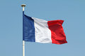 French flag blue red and white in the wind Stock Image