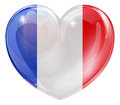 French flag heart france love concept with the in a shape Royalty Free Stock Images