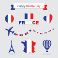 French flag and map icons set. Eiffel Tower icon Royalty Free Stock Photo