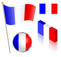 French flag set on a pole badge and isometric designs vector illustration Royalty Free Stock Images