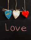French flag. Three wooden heart. Chalk inscription