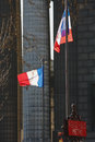 French flags in the center of paris france Royalty Free Stock Images