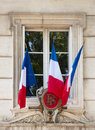 French flags on window Stock Photos