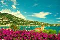 French flower coast, view of small city near Nice and Monaco Royalty Free Stock Photo