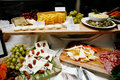 French food buffet with meats cheeses and fruits Stock Photos