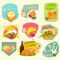 French Food Labels Set Royalty Free Stock Photo