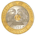 20 french franc coin Royalty Free Stock Photo