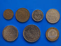 French Franc coins, France over blue Royalty Free Stock Photo