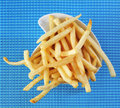 French fries a bowl with appetizing on a set table Stock Photos