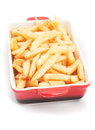 French fries in a bowl fried potato isolated on white background Royalty Free Stock Photography
