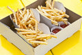 French fries in box Stock Photo
