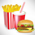 French fries burger and juice Royalty Free Stock Photography
