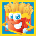 French fries cartoon grinning with frame Royalty Free Stock Image