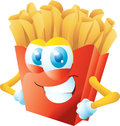 French fries cartoon grinning isolated Royalty Free Stock Images