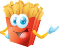 French fries cartoon presenting isolated Royalty Free Stock Photography