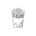 French fries , fast food background. Hand drawn illustration