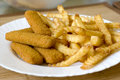 French fries and fish sticks Stock Image