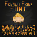 French Fries Font. Fast food font. English Alphabet. Type letters, numbers and punctuation marks. Royalty Free Stock Photo