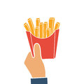 French fries in hands of men