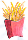 French fries illustration on paper Stock Photography