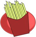 French fries illustration representing a pack full of Stock Photography