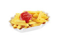 French fries with ketchup isolated Royalty Free Stock Photo
