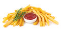 French fries with ketchup on white Stock Photography