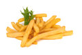French fries pile of on a white Stock Photos
