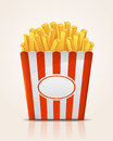 French fries potato in paper bucket illustration Stock Images