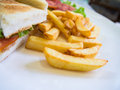 French fries side of sandwich Royalty Free Stock Photography