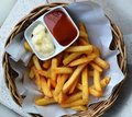 French fries traditional with ketchup Stock Photography